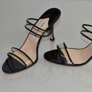 Manolo Blahnik Clear PVC Strap Black Patent Heels